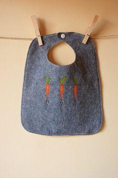 Bib, Vegetable Appliquéd, Denim Blue Linen and Cotton Blend with US Grown Organic Cotton Flannel
