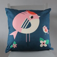 Two Little Birds cushion by Rebecca Sodergren.    Beautiful, fun design with a bright patterned back.