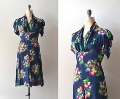 Victory Garden dress  rayon 1940s dress  vintage 40s by DearGolden, $234.00