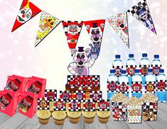 FNAF Party Supplies  PRINT AS MANY AS YOU NEED FOR YOUR PARTY GUESTS!  SO MANY CHARACTERS- Including characters from newest FNAF sister location!  DIGITAL PRINTABLE- Diy print yourself party pack  -Water bottle Wrap Prints 4 per 8.5x11 page -Banner Prints 3 panels per 8.5x11 page. -Bag Tags Prints 8 per 8.5x11 page -Cupcake topper -Prints 12 Per 8.5x11 Page -Center Piece/Cake Topper -Popcorn Box Snack Size 3x3 1 per page   Just Add Fun!!  You will receive a Link to download your files. A...