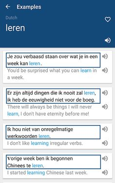 Het werkwoord LEREN : voorbeeldzinnetjes en vertaling in het Engels & https://play.google.com/store/apps/details?id=com.bravolang.dictionary.dutch