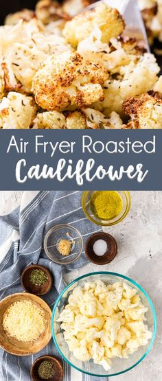 Air fryer roasted cauliflower, topped with parmesan and herbs and spice. This is the ideal side dish. Air Fryer Roasted Cauliflower - Deliciously crispy, but fork tender cauliflower roasted in an air fryer Air Frier Recipes, Air Fryer Oven Recipes, Air Fryer Recipes Vegetables, Veggies, Air Fryer Recipes Ground Beef, Air Fryer Recipes Grilled Cheese, Air Fryer Recipes Potatoes, Healthy Vegetables, Avocado Dessert