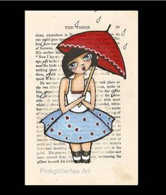 Original Illustration Girl with red umbrella Whimsical Funky art