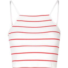 Red And White Stripe Halter Crop Top ($16) ❤ liked on Polyvore featuring tops, crop tops, shirts, tank tops, white, halter top, crop top, red and white crop top, white top and stripe crop top