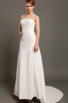 [117.39€ ] Abito da Sposa Senza Maniche A-Line con Perline moda Coda A Strascico Cappella