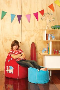 Boys Ottoman  from cocooncouture.com    Also shelf stand, bean bag, book ends