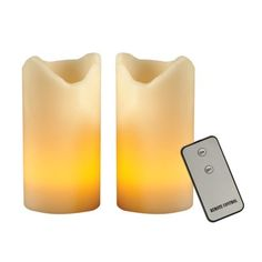 Set of 2 Flameless Pillar Candles with Remote - Ivory.Opens in a new window