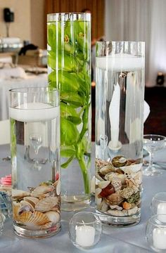 Shells in vase with candle    http://www.facebook.com/pages/Showorks-Events/113452715336