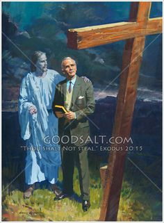 Jesus brings man to the cross Lds Pictures, Jesus Pictures, Bible Story Book, Bible Stories, Harry Anderson, Jesus Christ Images, Christian Artwork, Jesus Painting, Prophetic Art