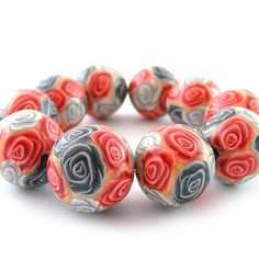 Polymer Clay Beads with Red And Silver Roses  by RolyzCreations,