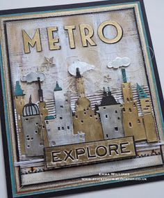 Metropolis - Creativation 2017 sample for Tim Holtz and Sizzix Atc Cards, Card Tags, Tim Holtz Dies, Card Creator, Spellbinders Cards, Beautiful Handmade Cards, Card Sketches, Masculine Cards, Cool Cards