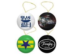 Firefly Ornament Collection  These can actually be hung all year round.    #joss #whedon #josswhedon #merch #firefly #serenity #whedonverse #tee #tshirt #firefly #ornament #christmas #blue #sun #browncoats