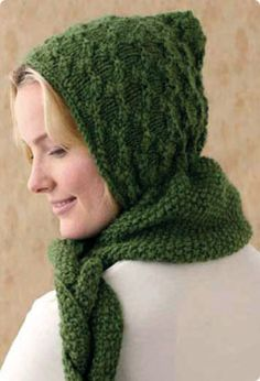 Hooded Scarf  Designed by Caddy Melville Ledbetter  Vogue Knitting Holiday 2010    Difficulty level