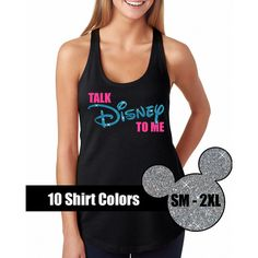Glitter Talk Disney to Me Tank Disneyland Shirt Disney Cinderella... ($20) ❤ liked on Polyvore featuring tops, black, tanks, women's clothing, black glitter top, black tank, vinyl shirt, summer shirts and summer tanks