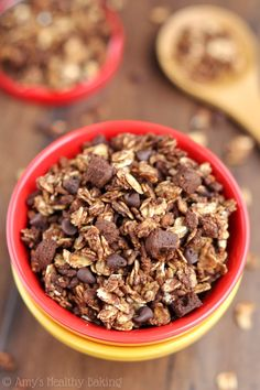 Double Chocolate Brownie Granola -- a healthy clean-eating recipe with real brownie chunks!