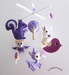 Baby Crib Mobile - Baby Mobile - Felt Mobile - Nursery mobile - purple deer and the friends (Custom Color Available). $78.00, via Etsy.
