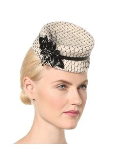 Millinery Women's Mini Netted Top Hat Stunning vintage style felt pillbox hat with delicate mesh overlay, straw adornment with feathers, thin elastic band adjusts for the best fit, circumference measures approximately 17""