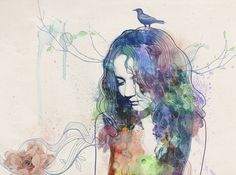 watercolor girls. portraits by Elena Zerno, via Behance