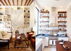 love. and built in knife block in the kitchen island!  but how do they get the stuff that's basically on the ceiling in the kitchen.