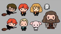 Hand drawn kawaii designs Harry Potter