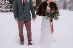 Carolina Marles Photography shot this romantic winter wedding inspiration that took place in a snowy setting in the White Mountains of New Hampshire.