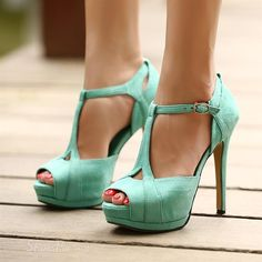 #Sexy T-Straps Peep-toe #Stiletto Platform #Sandals