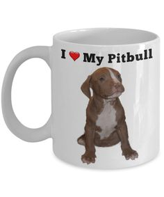 """Dog Series """"I Love My PitBull"""" fun pitbull puppy mug for dog lovers. This beautifully designed coffee mug is a great way to express yourself and would be the pe Funny Puppy Memes, Funny Dogs, Funny Animal Pictures, Funny Animals, Gifts In A Mug, Dog Lovers, Pitbulls, Puppies, Mugs"""