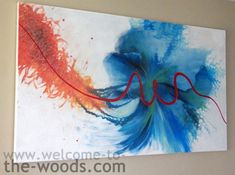 abstract family painting blue orange red