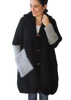 Plus Size Over Size Black Mohair Overcoat Poncho by afra on Etsy