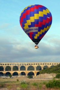 "France : Just a couple miles from the famous ""Pont du Gard"", the famous roman aqueduct Pont Du Gard, South Of France, Hot Air Balloon, Aerial View, Tour Guide, Provence, Places Ive Been, Roman, Balloons"
