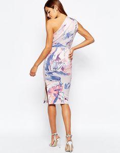 ASOS | ASOS Marble Print One Shoulder Clean Scuba Midi Dress at ASOS