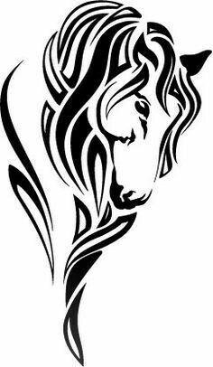 Items similar to Stylized Horse Head on Etsy Horse Stencil, Stencil Art, Stencils, Tribal Horse Tattoo, Tribal Tattoos, Horse Tattoos, Celtic Horse Tattoo, Tattoos Skull, Horse Head