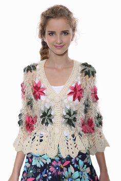 Vintage Hollow-carved Floral Cream Knit Cardigan