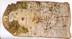 Mapa de Juan de la Cosa (1500). Se muestra el Nuevo Mundo en la parte superior (en verde) y el Viejo Mundo en la parte central e inferior (en blanco).