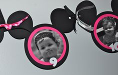 Minnie Mouse- 12 month-  Month by Month- 1st Year  Photo Birthday Banner- Photo's Included-. $22.00, via Etsy.