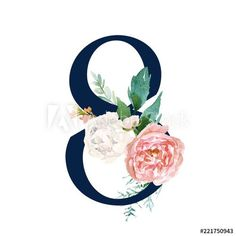 Navy Floral Number - digit 8 with flowers bouquet composition. Unique collection for wedding invites decoration & other concept ideas. Unicorn Themed Birthday Party, Monthly Baby Photos, Moon Garden, Bullet Journal Themes, Bird Wings, 8th Of March, Typography Art, Holidays And Events, Adobe