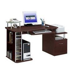 Multipurpose Contemporary Office Desk in Chocolate or Mahogany
