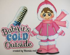 Winter snow girl paper piecing for premade scrapbook pages Rhonda rm613art