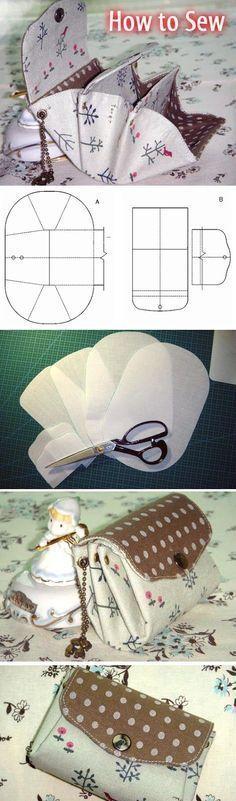 Accordion Folded Wallet. Free Sewing Pattern and Tutorial. Step by step DIY http://www.handmadiya.com/2016/02/folded-accordion-wallet-tutorial.html