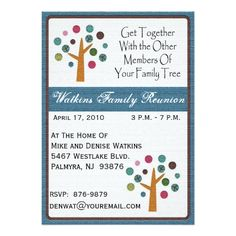 What a cute way to get ready for a family reunion paper is pretty family tree reunion invitation 5 x 7 invitation card stopboris Gallery