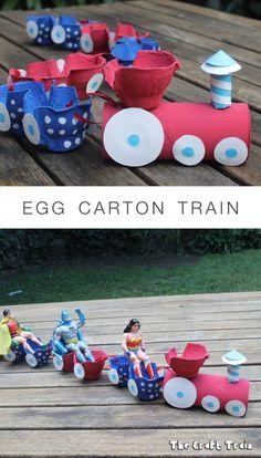 Egg Carton Train recycling craft for kids crafts Preschool Toddler Crafts, Diy Crafts For Kids, Easy Crafts, Arts And Crafts, Recycled Crafts Kids, Recycling Projects For Kids, Recycle Crafts, Kids Diy, Creative Crafts