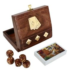 Indian Wooden Box for Cards and 5 Dices 5 X 4.5 Inches ShalinIndia,http://www.amazon.com/dp/B00GYONLBQ/ref=cm_sw_r_pi_dp_Aafitb0AY5N5WSWP