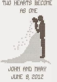Cross Stitch Wedding Couple Pattern/Chart - Irish blessing, different colors & font Wedding Cross Stitch Patterns, Counted Cross Stitch Patterns, Cross Stitch Charts, Cross Stitch Designs, Cross Stitch Embroidery, Cross Stitch Love, Modern Cross Stitch, Bride And Groom Silhouette, Wedding Silhouette
