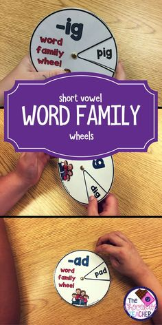 30 short vowel word family wheels.  Each wheel has 8 words on them.  They are mostly CVC words with a few challenge words added. These are a perfect warm up for you guided reading groups or to use in a literacy center.  Your kindergarten and first grade students will love them!