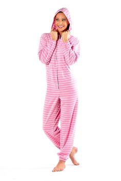 Stripe print ladies onesie.  Kangeroo pocket and hood. In sizes 8-22. £20