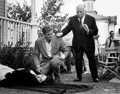 """Alfred Hitchcock directing Suzanne Pleshette and Rod Taylor in """"The Birds"""" (1963)"""