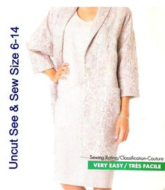 Butterick 5974 See & Sew Sewing Pattern Misses Jacket Dress Uncut Size 6-14