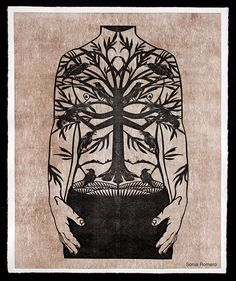"""Man's Trunk"" by Sonia Romero  2012 Papercut print"