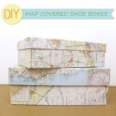 Cover an old shoe box with map paper to create a container pretty enough for home storage, or presents!