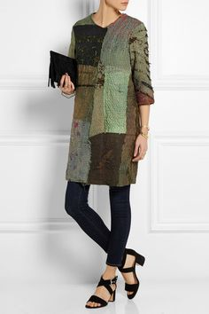 Multicolored textured-silk Concealed snap fastenings along front 100% silk; lining: 100% cotton Specialist clean This piece has been crafted from vintage fabrics, any imperfections only add to its individuality